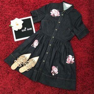 ♠️Kate Spade Broome Street Rose Denim Shirt Dress